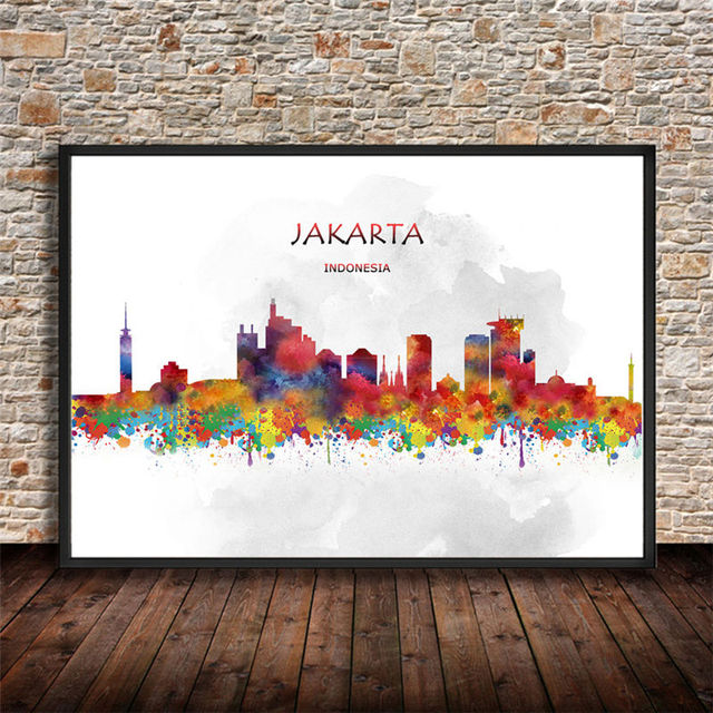 Abstract Watercolor World City JAKARTA Indonesia Canvas Art Painting Poster Modern Wall Sticker Living Room Home & Abstract Watercolor World City JAKARTA Indonesia Canvas Art Painting ...