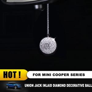 Image 3 - Retrovisore auto Specchio di Cristallo del Diamante di Bling del Pendente della Sfera Rotonda Appeso Decorazione per Mini COOPER JCW S One Countryman Clubmam F55