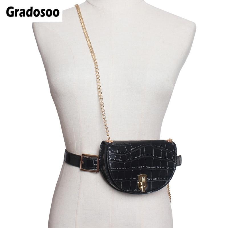 Gradosoo Alligator Waist Pack Female Saddle Waist Bag Women Designer Fanny Pack Fashion Belt Chain Shoulder Bag For Women LBF515