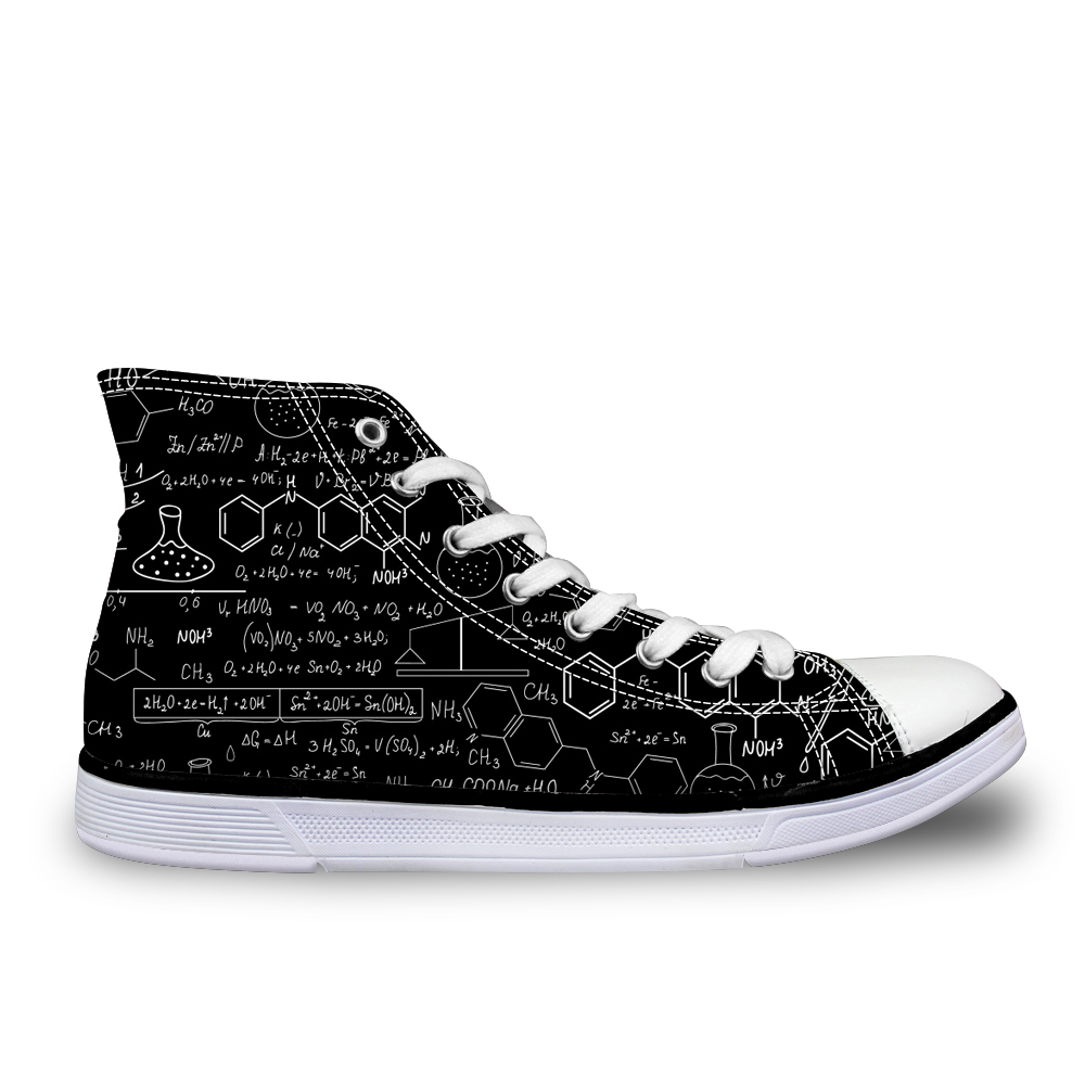 FORUDESIGNS Cool Men's Canvas Vulcanized Shoe Graffiti Chemical Formula Shoes For Boys School High Top Flat Zapatos Vulcanizados e lov women casual walking shoes graffiti aries horoscope canvas shoe low top flat oxford shoes for couples lovers