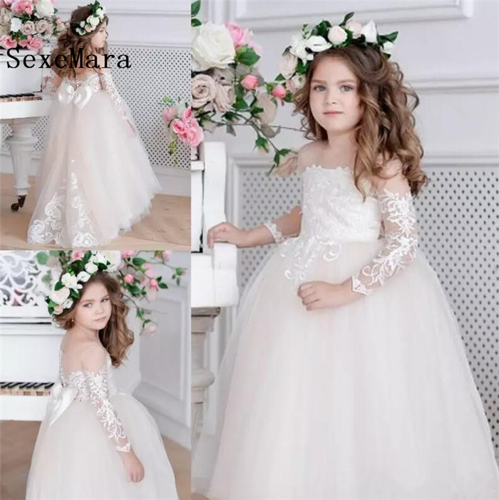 New Flower Girls Dresses For Wedding Long Sleeves Illusion Neck Lace Applique Little Kids First Communion Dress Pageant Gown