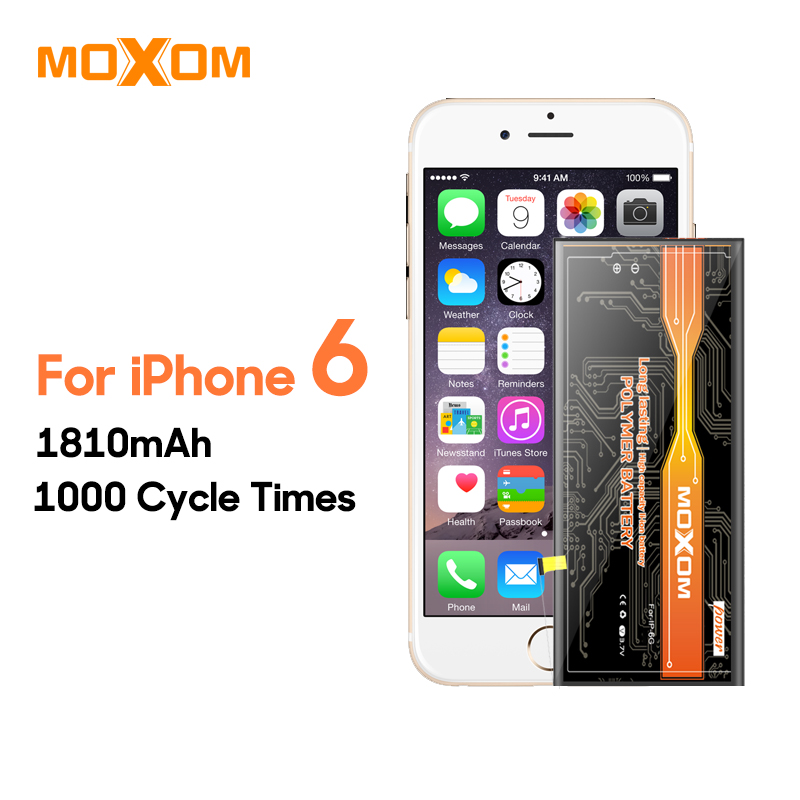 4d1e2afc6751aa MOXOM Mobile Phone Battery For iphone 6 1810mAh High Capacity Mobile Phone  Battery lithium polymer battery