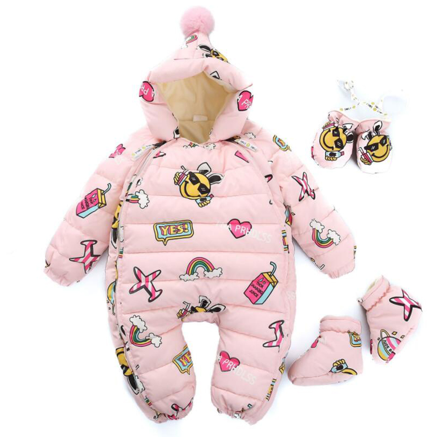 New Year Winter Baby Rompers Girls Clothes Thickening Cartoon Down Romper Toddler Girl Warm Infant Snowsuit Kids Jumpsuit long