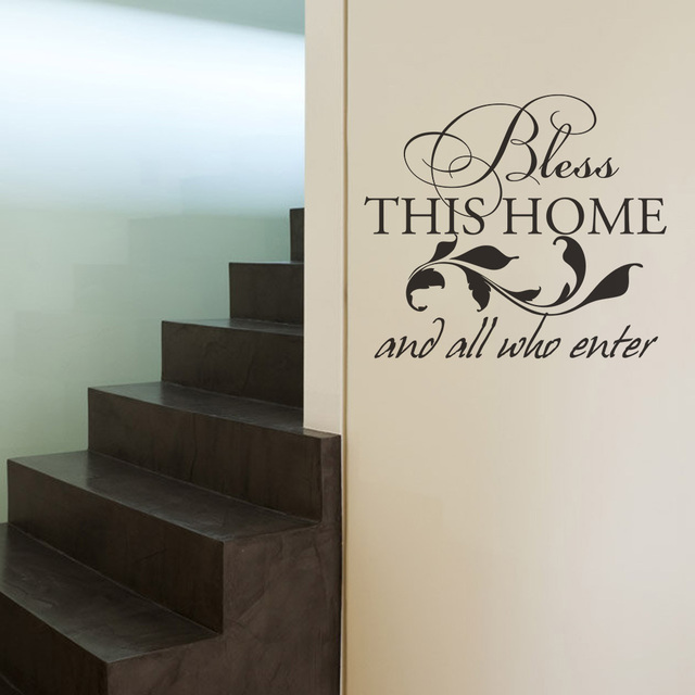 bless this home and all who enter family vinyl wall decal living