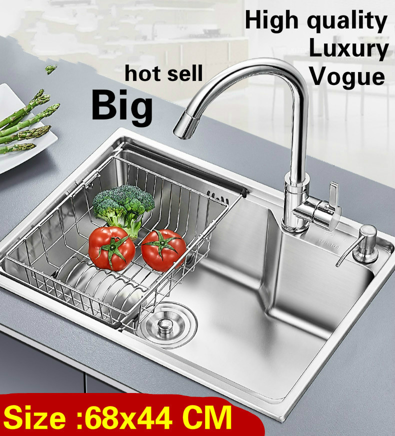 Free shipping Apartment vogue large luxury kitchen single trough sink wash vegetables 304 stainless steel 680x440 MM Free shipping Apartment vogue large luxury kitchen single trough sink wash vegetables 304 stainless steel 680x440 MM