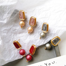2019 Korea Ms design unique geometrical irregular earrings Metal/gold Suitable for lady birthday party