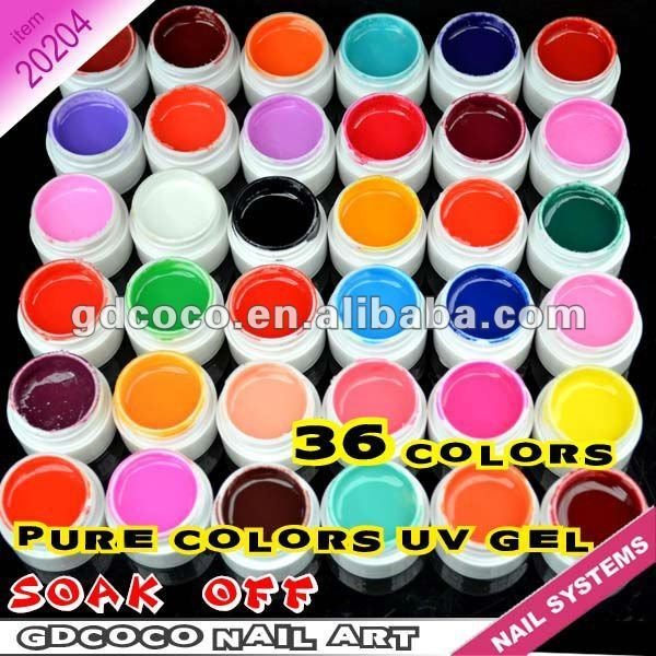 #20204 Free shipping Wholesale nail gel supplies cheap price GDCOCO 36 color UV gel