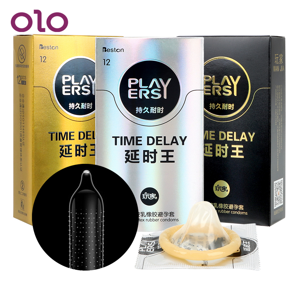OLO 12 Pieces/Pack Penis Cock Sleeve Ultra Thin Condoms Sex Toys for Men Large Lubrication Natural Latex Time Delay Sex Products