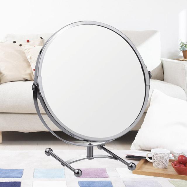 Nueva 8 pulgadas H moda pedestal de alta definición espejo de maquillaje escritorio espejo 2-Face baño de metal redondo espejo de aumento 3X