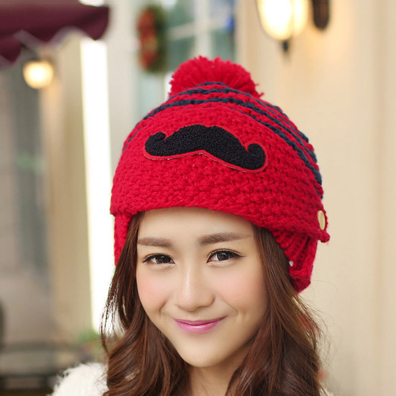 Wholesale Women Korean Stripe Velvet Knitted Hats Winter Warm Hairball  Ladies Mustache Cute Caps Face Protection Free Shipping-in Skullies    Beanies from ... 2b95d92a2b3