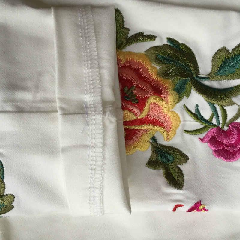 패션 여성 흑인과 백인 빈티지 자수 꽃 캐주얼 긴 바지 봄 가을 새로운 탄성 허리 바지