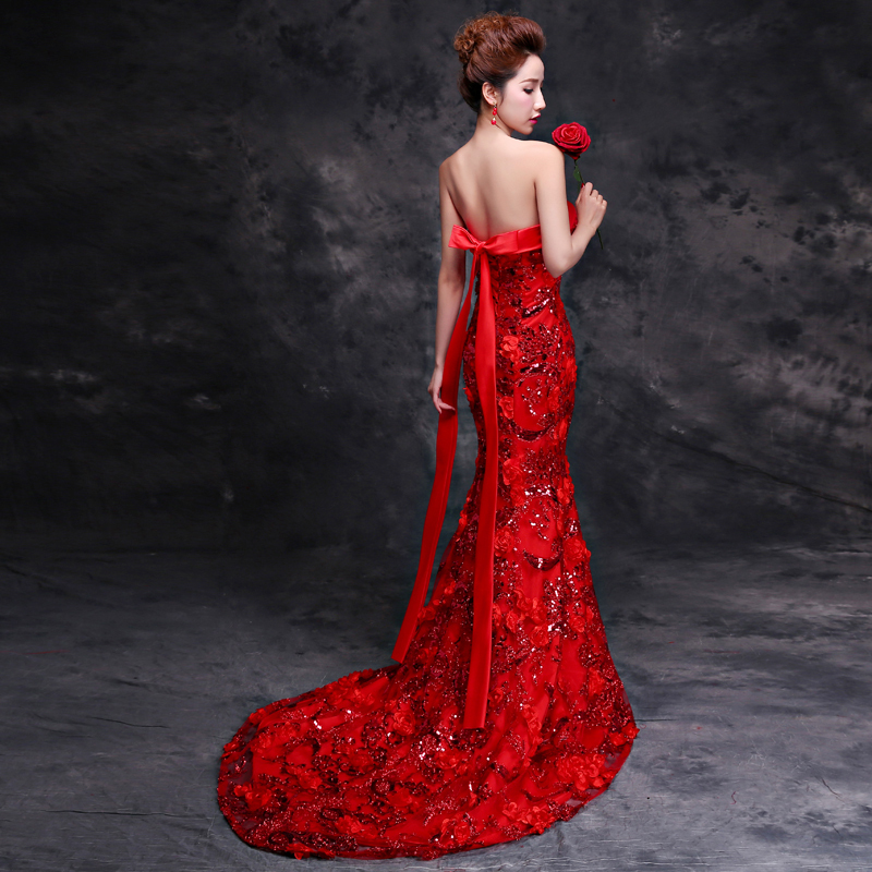 Chines China Vintage Chinese Clothing Oriental Silk Traditional Bridal Bride Y Long Red Wedding Cheongsam Qipao Dress In Cheongsams From Novelty