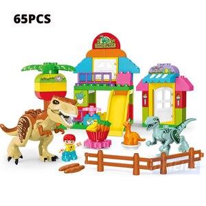 Image 4 - Umeile 15/39/65/100 Pcs Jurassic Dinosaurus Wereld Grote Bouwstenen Speelgoed Dier Set Baksteen Compatibel met Legoing Duplo Gift