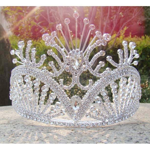 Free-shipping-large-custom-tiara-tall-pageant-Queen-tiara-Rhinestone-bridal-tiara-silver-party-girl-s