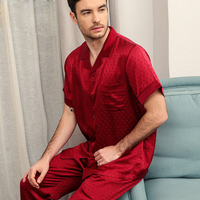 Sexy red male 100% genuine silk pajamas sets short sleeves noble pajamas sets men sleepwear pijamas pyjama hombre plus size