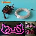 Hot Sales 15Meters 3.2mm 10 color Choice EL Wire Flexible Party Wedding Decorative Neon Light LED Strip with DC-12V EL Driver