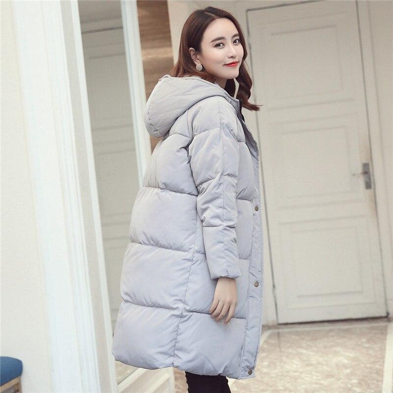 Manteau Section vert Dans Longue Épais Slim Mianfu gris À Noir Veste Hiver Down Dames 2018 La Coréenne Capuche qUR6nT40