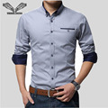 2017 New Spring Brand Men Shirts Business Long Sleeve Turn-down Collar 95% Cotton Male Shirt Slim Fit Popular Designs N837