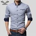 2017 Nova Primavera Marca Homens Camisas de Negócios de Manga Longa Turn-down Collar 95% Algodão Camisa Masculina Camisa Slim Fit Popular projetos N837