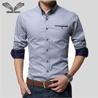 VISADA JAUNA עסקי חולצות 2017 גברים חדשים שרוול ארוך תורו למטה צווארון 100% כותנה זכר שירט Slim Fit פופולרי עיצובים N837