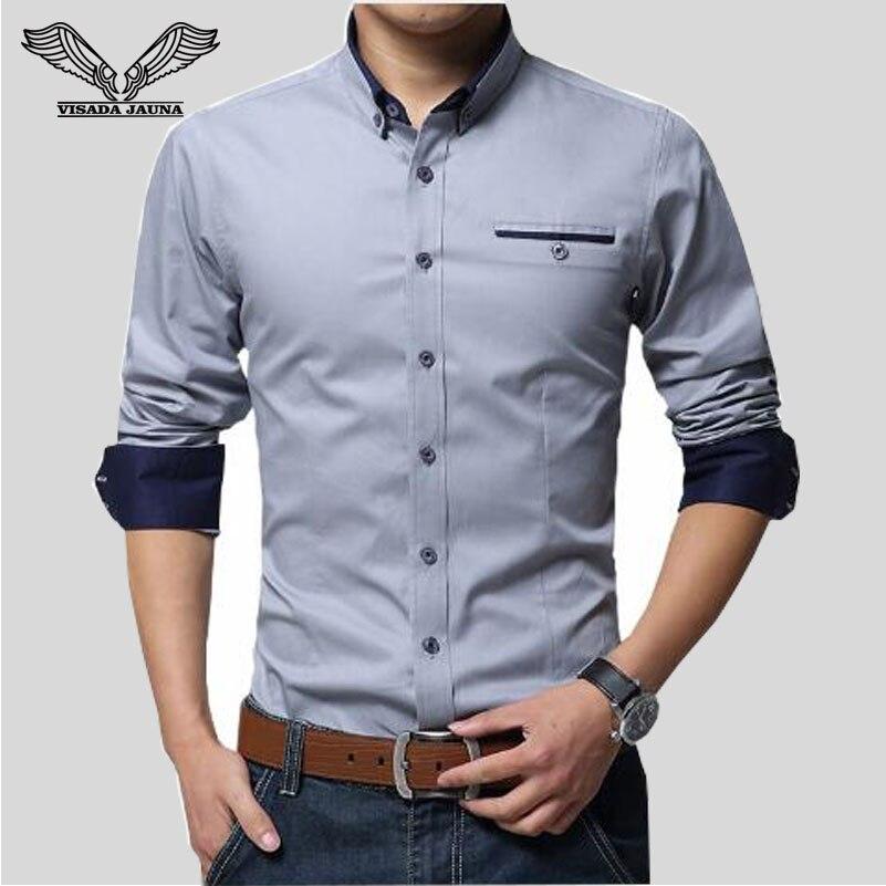 Visada jauna Новинка 2017 года Для мужчин Рубашки для мальчиков Бизнес с длинным рукавом отложной воротник 100% хлопок мужской рубашка Slim Fit популярные конструкции N837