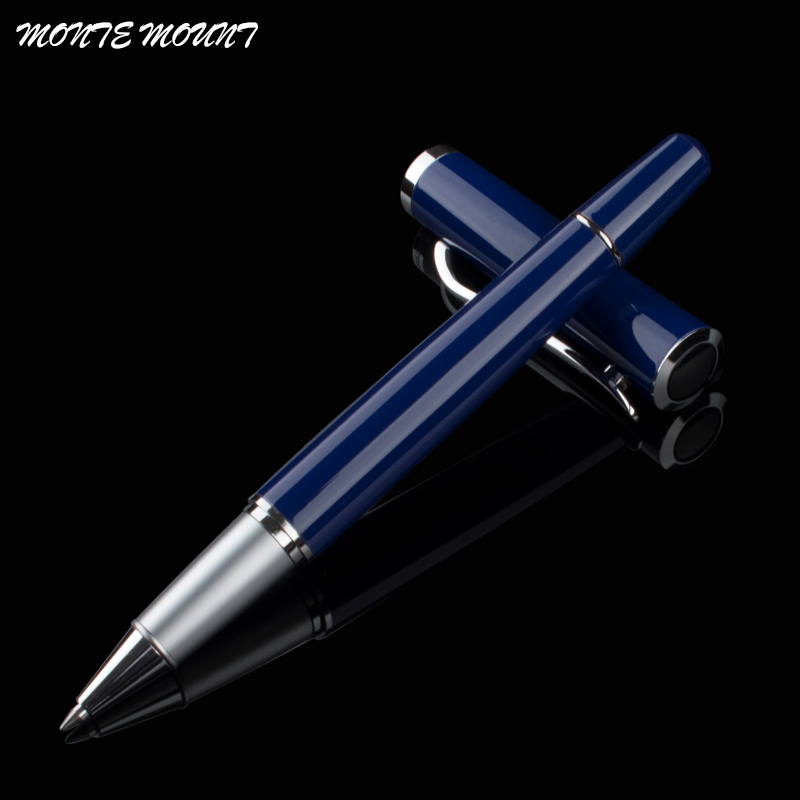sale High Quality MONTE MOUNT blue Writing gel Pen luxury school Office Stationery metal Roller Ball Pen black ink Refill dikawen 891 gray gold dragon clip 0 7mm nib office stationery metal roller ball pen pencil box cufflinks for mens luxury