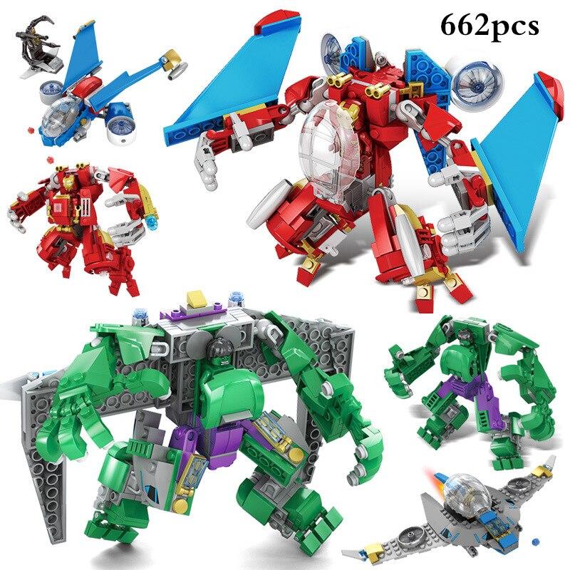 4 in1 The Avengers Super Hero Transformer Robot Action Figures Building Blocks Compatible Legoe Stars War Bricks Educational Toy super hero factory 5 star wars bulus robot 20cm action toy figure building bricks block 44004