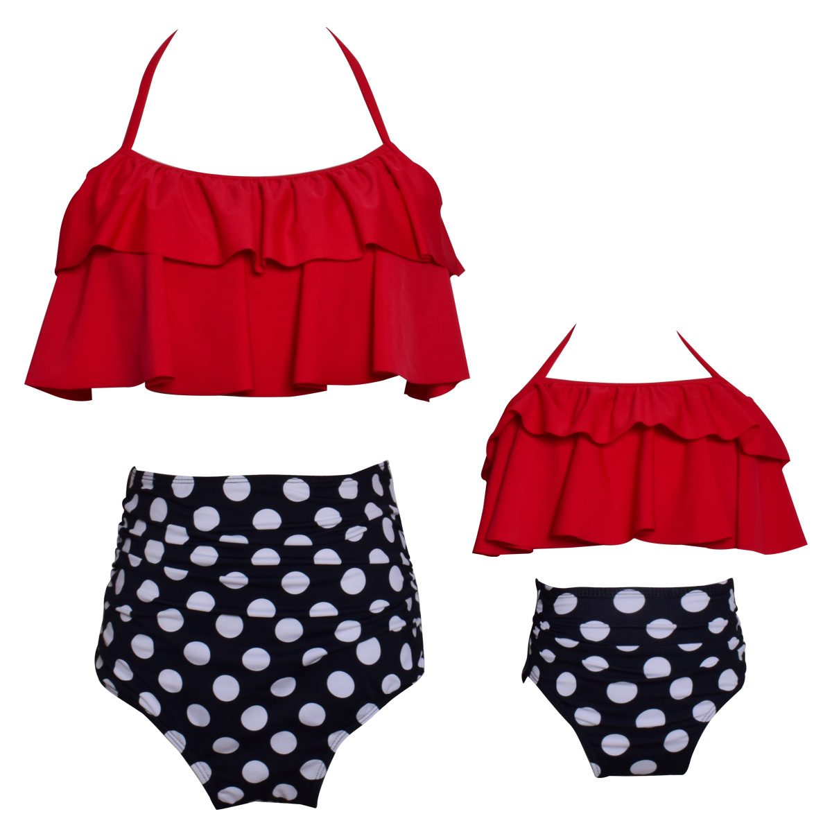 Funfeliz Mother Daughter Swimwear Family Matching Outfit Girls Swimming Suit Kids Bikini Children Two Pieces High Waist Swimsuit