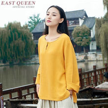 Yellow Ladies Chinese Tops Summer 2019 Women Blouse Spring Cotton Linen Soild Color Vintage Femme Long Shirt Female Tunic TA1706(China)