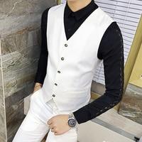 7 Color Choice Men's Suit Vests Business Party Waistcoat Men S 2XL Slim Elegant Male Formal Vest Pure Color