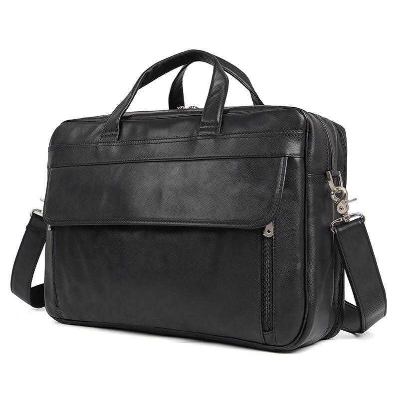 Pochette d'ordinateur 17 pouces pour hommes classique en cuir véritable sac Messenger sac hommes bureau affaires sac mallette hommes