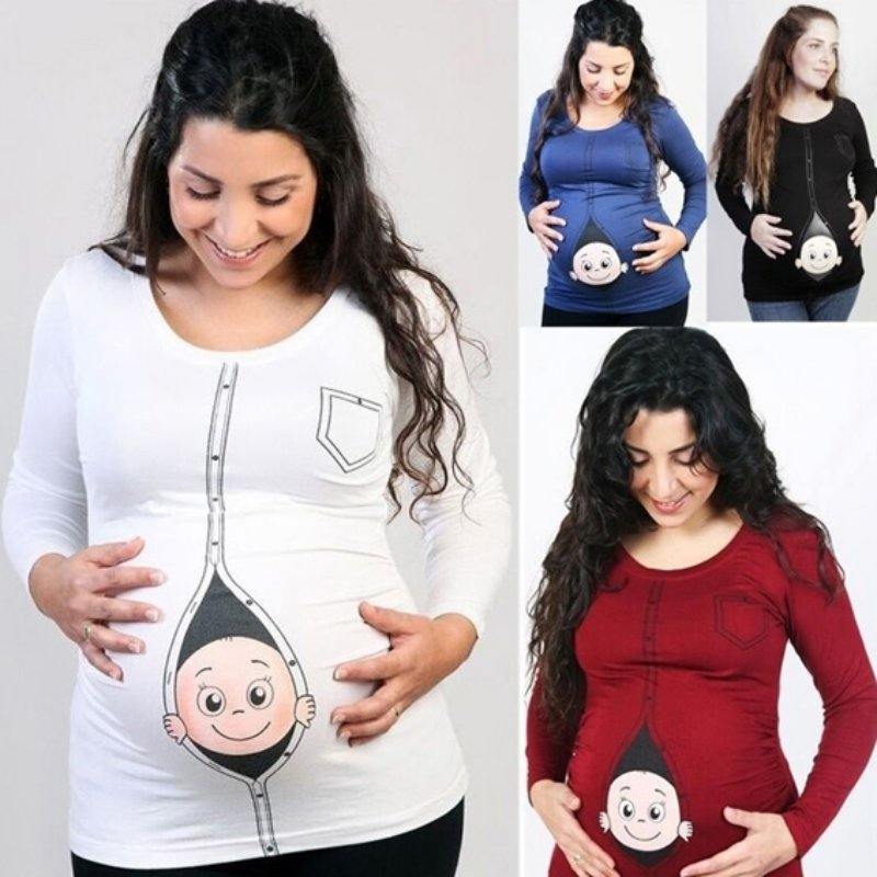 Cute Pregnant Maternity T Shirts Casual Pregnancy Maternity Clothes with Baby Peeking Out Funny Shirts burgundy cold shoulder cut out hollow splited hem back t shirts