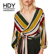 HDY haoduoyi Casual V Neck Long Sleeve Multicolor Stripe Woman Top Waist Belt Cross Wrap Fashion Design Sexy Female Blouse недорого