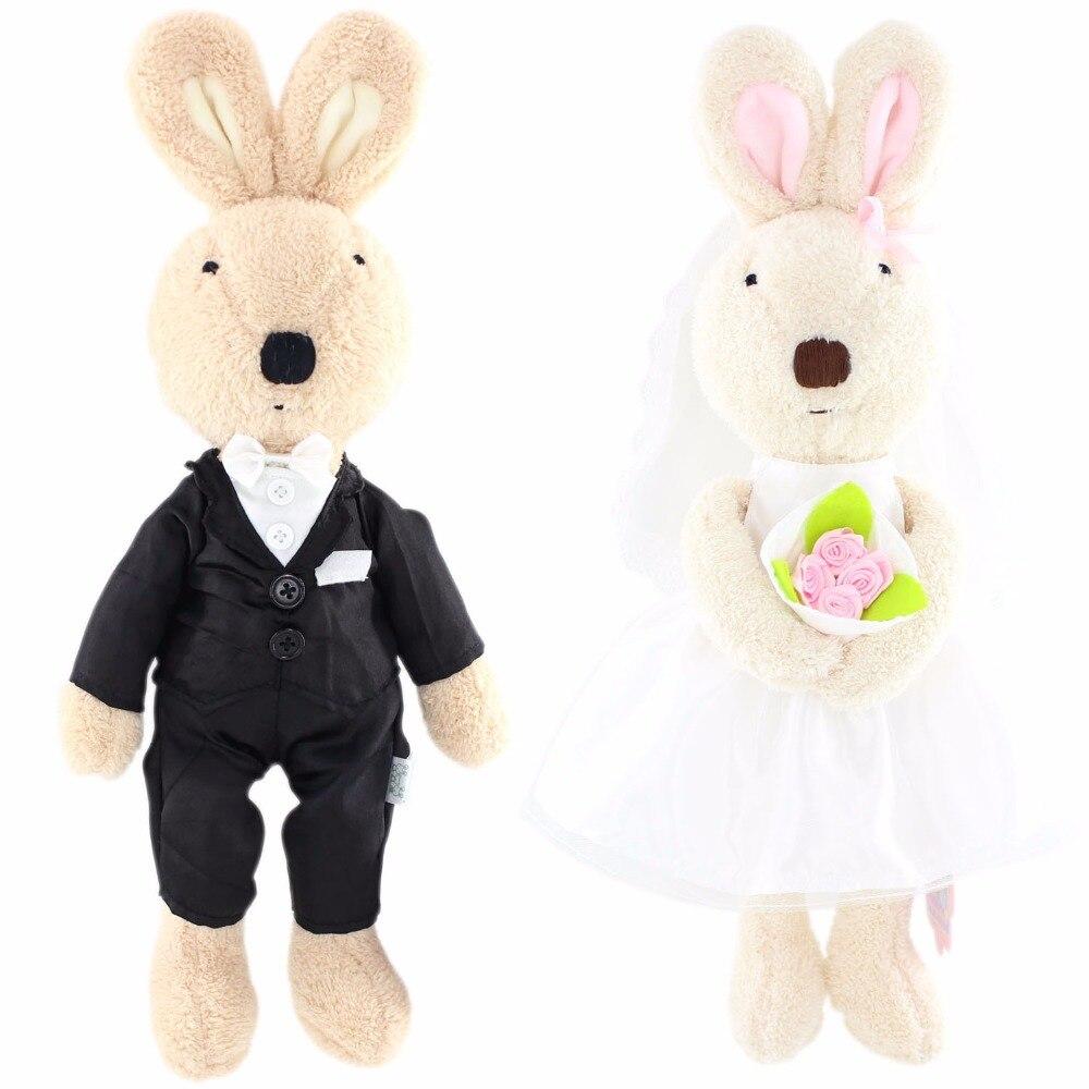 JESONN Plush Fyllda Djur Kanin Kaniner Mjuka Toys Klädda Bröllopsgåvor till Alla hjärtans dag, Pack of 2