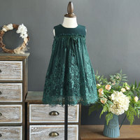 Everweekend Girls Lace Party Dress Green And Black Color Ruffles Princess Autumn Winter Sleeveless Holiday Dress