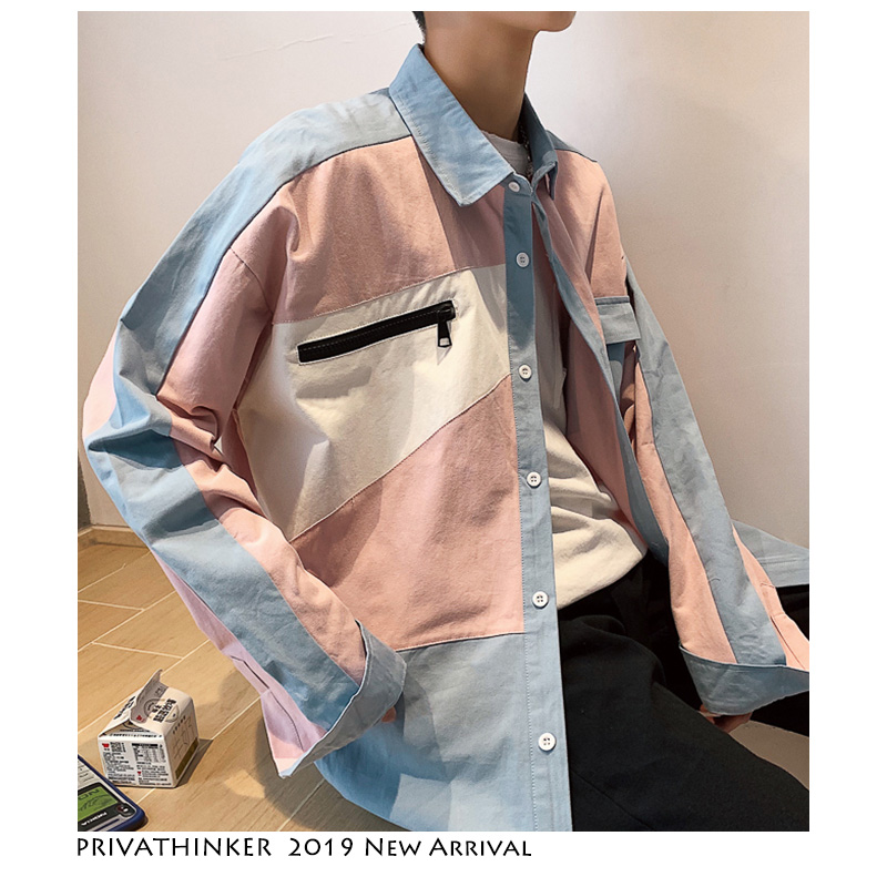 Privathinker Japanese Streetwear Shirts Men Fashion 2019 Mens Harajuku Color Block Clothes Male Vintage Zipper Shirts Plus Size