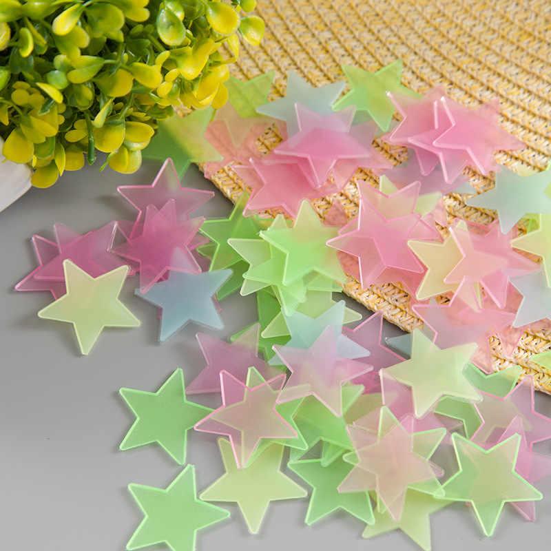10 pièces 3D étoiles lueur dans l'obscurité lumineux Fluorescent en plastique autocollant mural décor à la maison décalque papier peint décoratif spécial Festivel