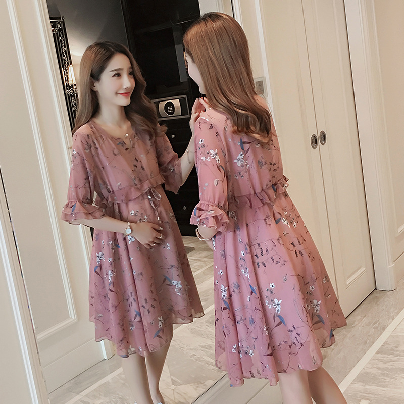 Chiffon Maternity T-Shirts Half Sleeve Loose Blouses Clothes for Pregnant Women Spring Summer Pregnancy Dresses Clothing Lahore