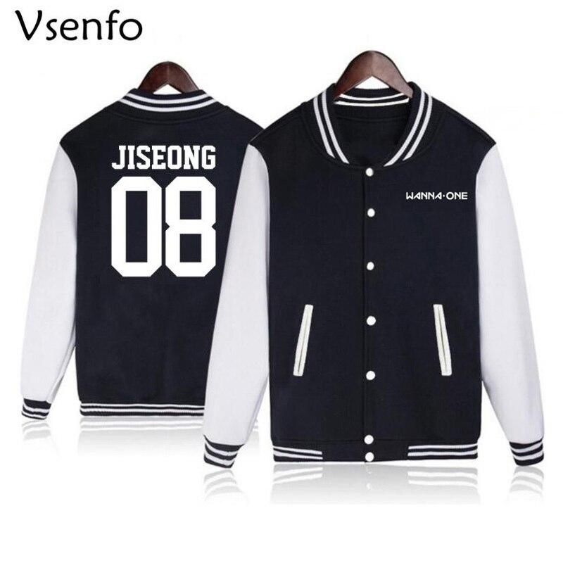 Vsenfo Wanna One Kpop Hoodies Women Men Harajuku Tracksuit Sweatshirt Autumn Winter Fleece Jacket Baseball Hoodies