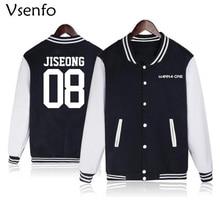 Vsenfo Wanna One Kpop Hoodies Women Men Harajuku Tracksuit Sweatshirt Autumn Winter Fleece Jacket Baseball Hoodies Coats