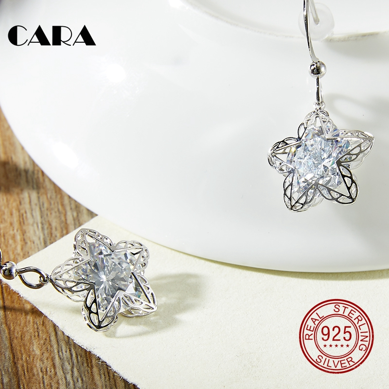 2019 new 925 sterling silver Luxury hollow out star Stud Earrings with Zircon Stone Women Birthday Bijoux earrings CARA0089