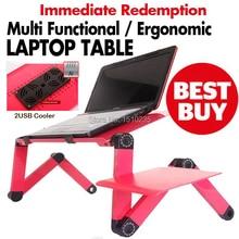 Multifunktionale Ergonomische faltbare laptop-tisch für bed ständer E-Tisch Tragbare laptopständer mit 2 USB Kühler und mauspad