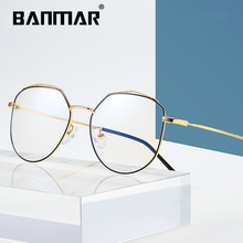 BANMAR Computer Women Round Metal Frame Glasses Anti Blue Rays Radiation Eye Frames Unisex Print Men A1902
