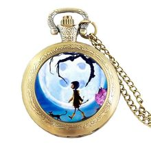 Anime Movie Coraline Necklace Coraline pocket watch Necklace chain Jewelry women men gift vintage antique charm steampunk chains