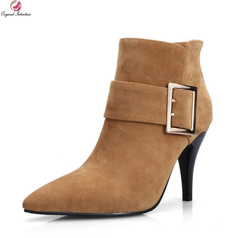 Original Intention Elegant Women Ankle Boots Fashion Pointed Toe Thin Heels Boots Black Brown Beige Shoes Woman US Size 4-12 full grain leather women thin heels elegant work ankle boots pointed toe fashion zipper lady office shoes black