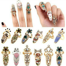 Nail Art Knuckle Finger Tip Ring Rhinestones for Women Mixed