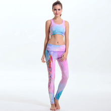 Women's Yoga Set Padded Mid impact Sports Bra And Elastic Workout Leggings Pants 2 Pieces Set