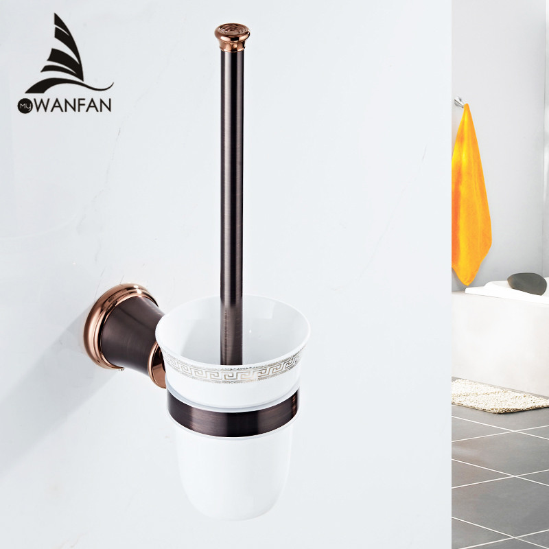 Toilet Brush Holders Wall Mounted ORB Finish Accessories in the Bathroom Brass Bathroom Decoration Bath Hardware Sets 5509 high quality crystal decoration gold brass toilet brush holders bathroom shelf accessories