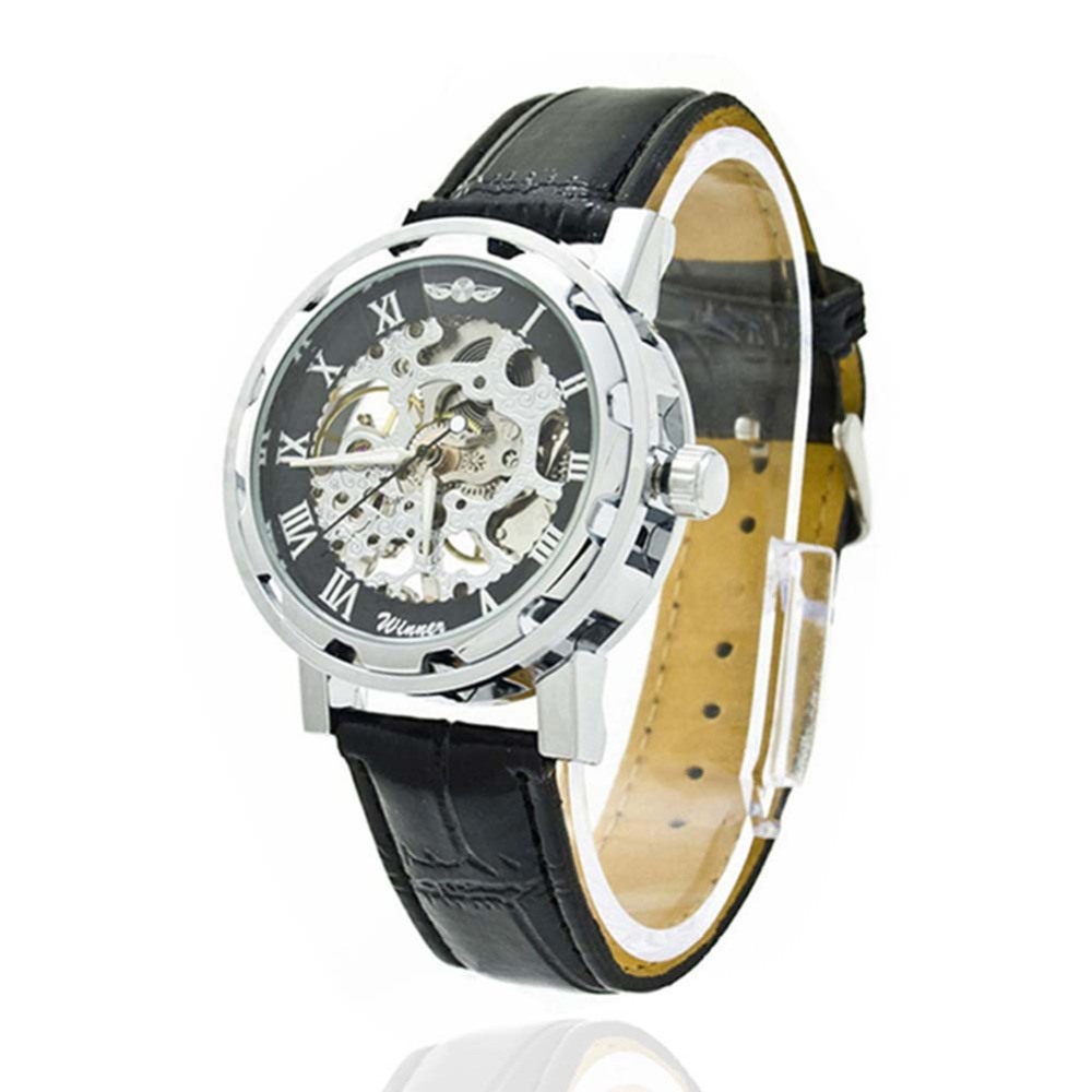 Men Watches Skeleton Mechanical Stainless Steel Case PU Leather Classic Sport Hollow-Out Wrist Watch TT@88 247 classic leather