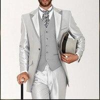 Ultimo Cappotto Mutanda Disegni Silver Grey Satin Italiano Vestito Degli Uomini Classic Mens Abiti Prom Smoking Delicato Personalizzato 3 Pezzi Vestidos vestito